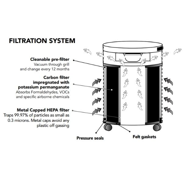 Airpura F600 Air Purifier Formaldehyde, VOCS and Particles Filtration System
