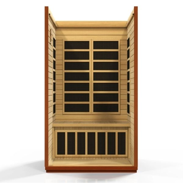 Dynamic 2 Person Low EMF FAR Infrared Sauna San Marino Edition Front View showing all the heating panels