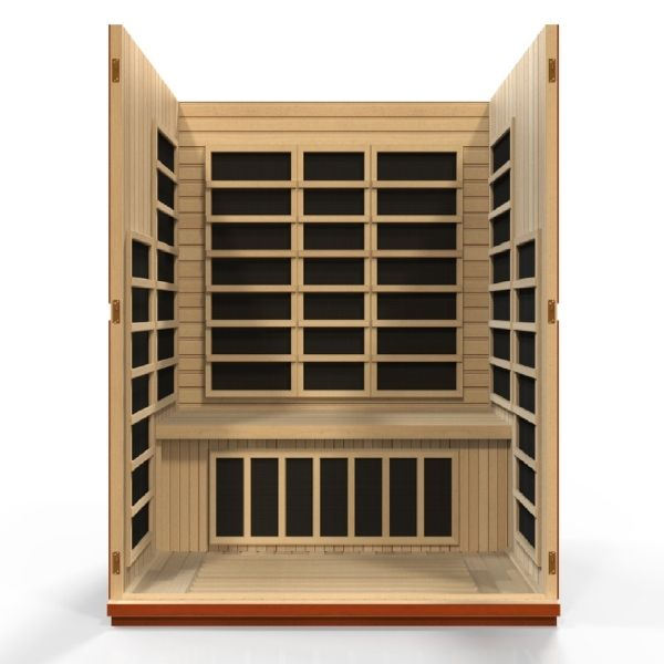 Dynamic Bellagio Edition 3 Person Low EMF FAR Infrared Sauna DYN-6306-01 3D Front View looking inside the Sauna