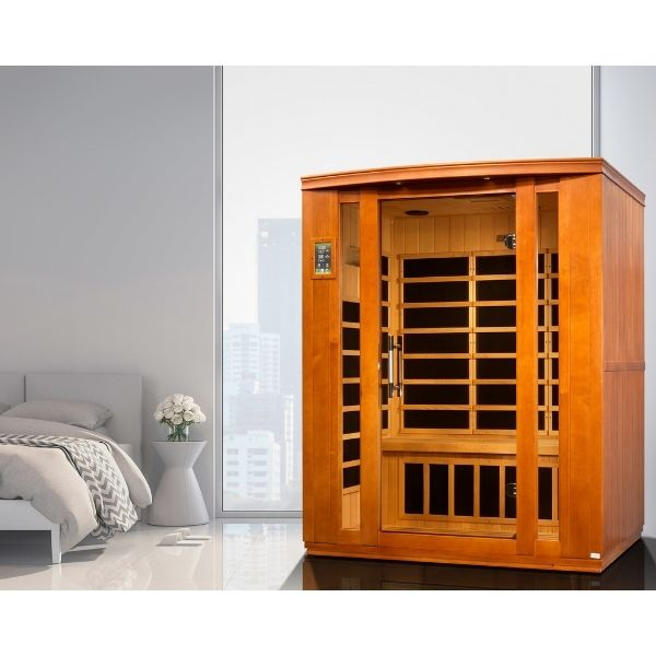 Dynamic Bellagio Edition 3 Person Low EMF FAR Infrared Sauna DYN-6306-01 can be set up in the home or office.