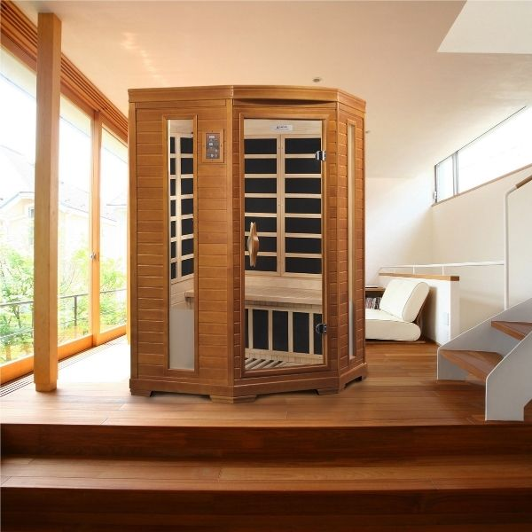 Dynamic Heming Edition 2 Person Low EMF FAR Infrared Corner Sauna DYN-6225-02 can be placed in the home or office.