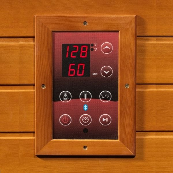 Dynamic Heming Edition 2 Person Low EMF FAR Infrared Corner Sauna DYN-6225-02 LED Control Panels on interior and exterior