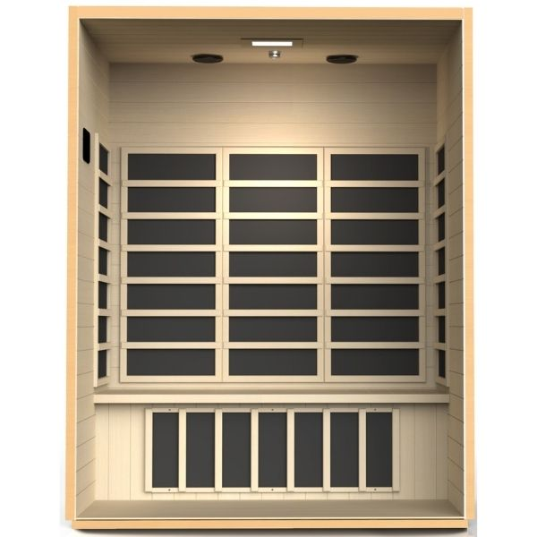 Dynamic Valencia Edition 3 Person Ultra Low EMF FAR Infrared Sauna DYN-6326-01 3D View inside the sauna with Carbon PureTech™ Ultra Low EMF Heat Emitters