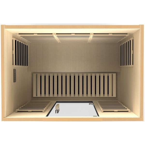 Dynamic Valencia Edition 3 Person Ultra Low EMF FAR Infrared Sauna DYN-6326-01 3D View looking into the sauna