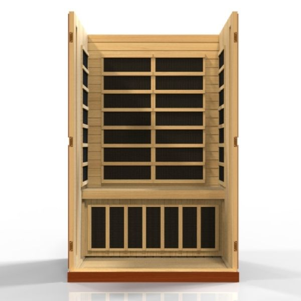 Dynamic Vittoria Edition 2 Person Low EMF FAR Infrared Sauna DYN-6220-01 3D Front View looking inside the sauna