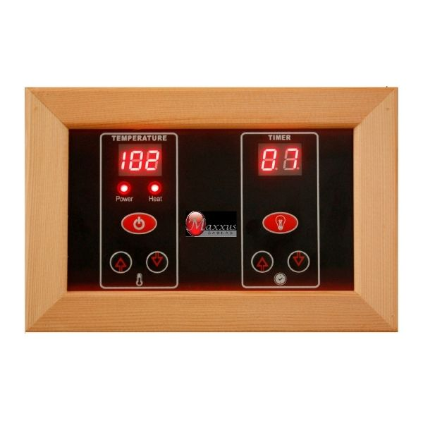 Golden Design Maxxus 2 Person Low EMF FAR Infrared Carbon Sauna MX-K206-01 Control Panel inside so you can adjust the timer and temperature