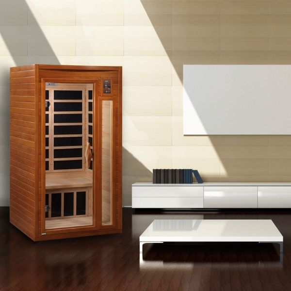 Dynamic 1-2 Person Low EMF FAR Infrared Sauna Barcelona Edition DYN-6106-01 can fit almost anywhere inside your home.