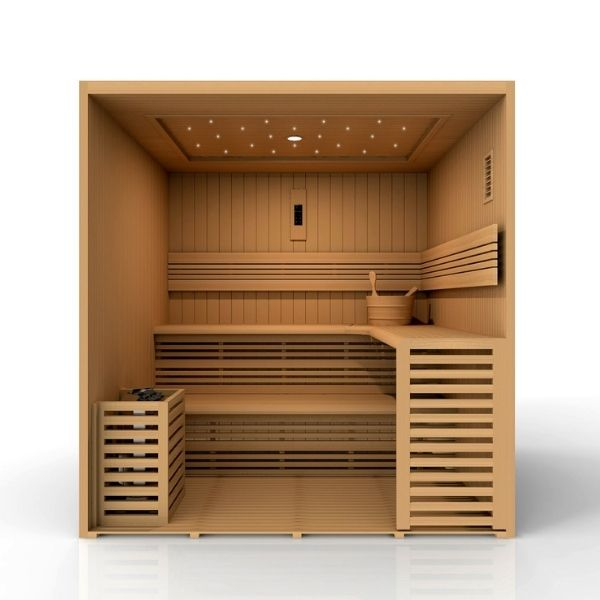 Golden Designs Osla Edition 6 Person Traditional Steam Sauna GDI-7689-01 3D Front View looking inside the sauna