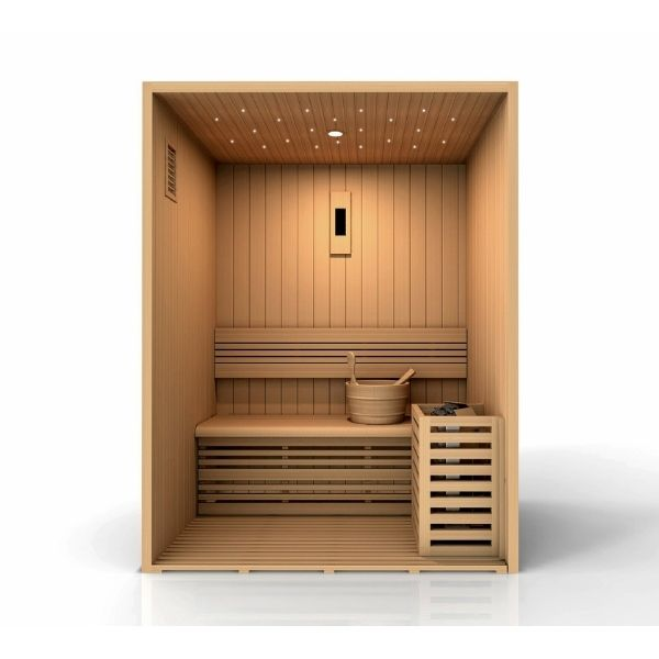 Golden Designs Sundsvall Edition 2 Person Traditional Steam Sauna GDI-7289-01 3D Front View looking inside the sauna