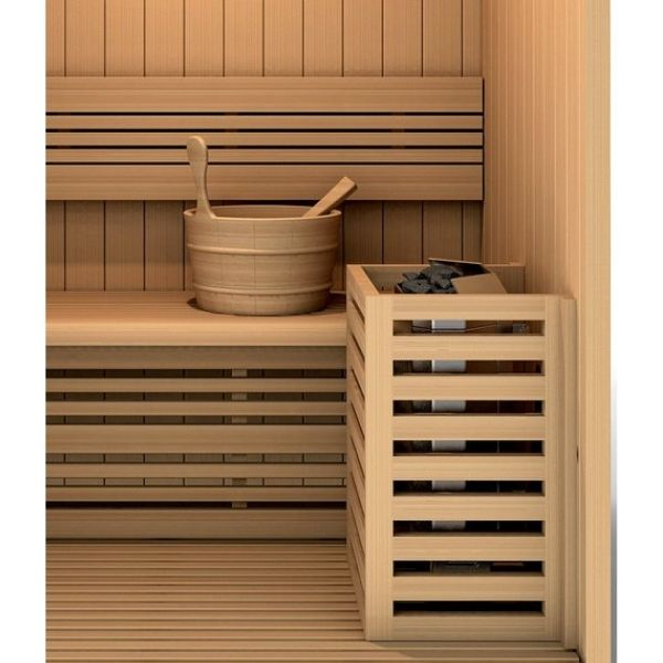 Golden Designs Sundsvall Edition 2 Person Traditional Steam Sauna GDI-7289-01 Water Bucket and Spoon to add more water on the stove for added humidity