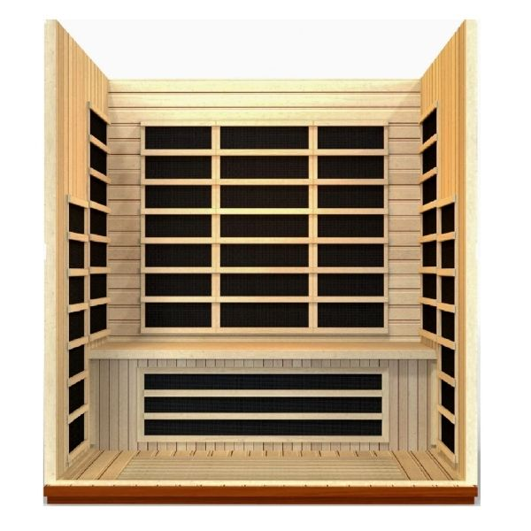 Dynamic 3 Person Low EMF FAR Infrared Sauna Lugano Edition Front View showing all the heating panels