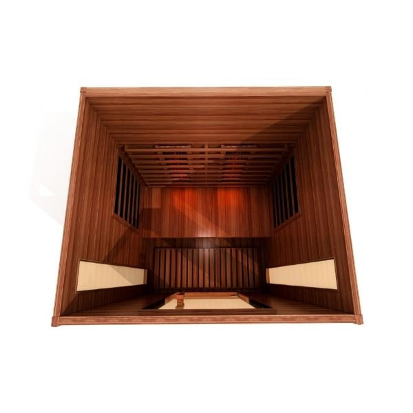 Maxxus 2 Person Full Spectrum Near Zero EMF FAR Infrared Carbon Sauna MX-M206-01-FS 3D View looking into the sauna from a top view