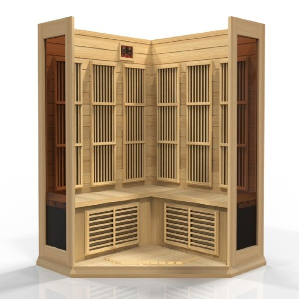 Maxxus 3 Person Corner Low EMF FAR Infrared Carbon Sauna MX-K356-01 3D Front View looking into the sauna