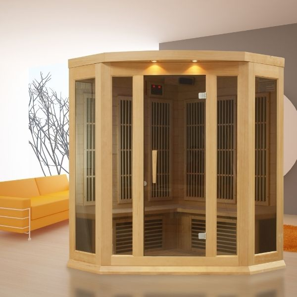 Maxxus 3 Person Corner Low EMF FAR Infrared Carbon Sauna MX-K356-01 can be set-up in the home or office