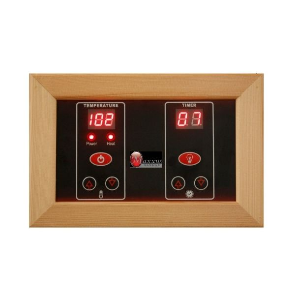 Golden Design Maxxus 3 Person Low EMF FAR Infrared Carbon Sauna Bellevue Edition MX-J306-01 Control Panel inside so you can adjust the timer and temperature