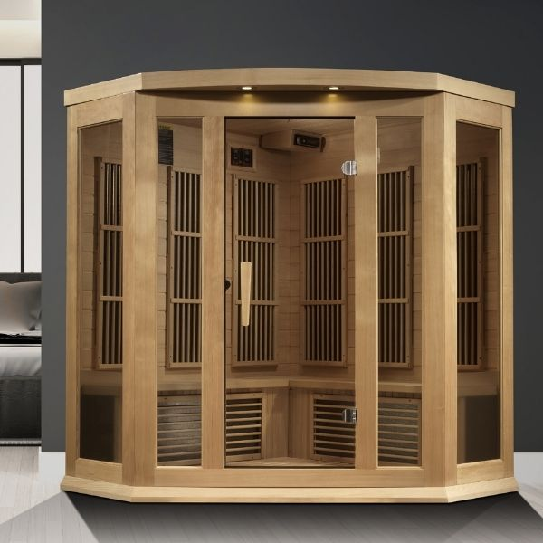 Maxxus Chaumont Edition 3 Person Corner Near Zero EMF FAR Infrared Carbon Sauna MX-K356-01-ZF can fit in the home or office.