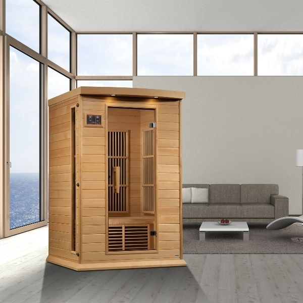 Maxxus Cholet Edition 2 Person Near Zero EMF FAR Infrared Carbon Sauna MX-K206-01-ZF can be set-up in the home or office