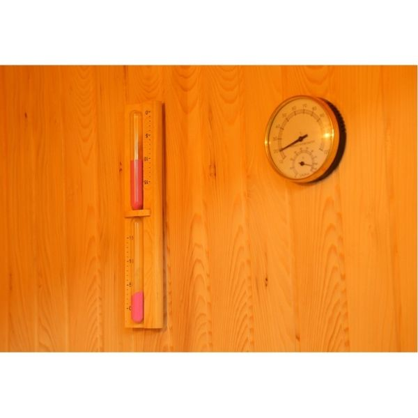 SunRay Baldwin HL200SN Two Person Traditional Sauna Thermo-Hygrometer gives you a safe climate inside the sauna by measuring the humidity.