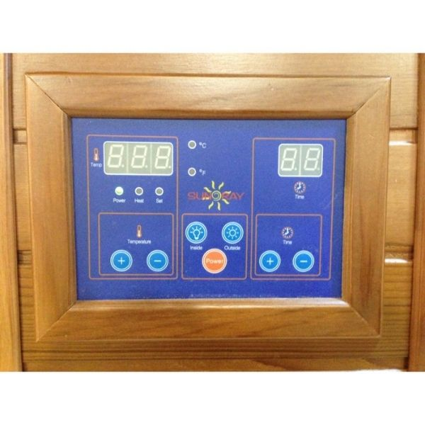 SunRay Bristol Bay HL400KC Four Person Infrared Corner Sauna LED Control Panels on the interior and exterior of the sauna allow you to control the timer and temperature settings.