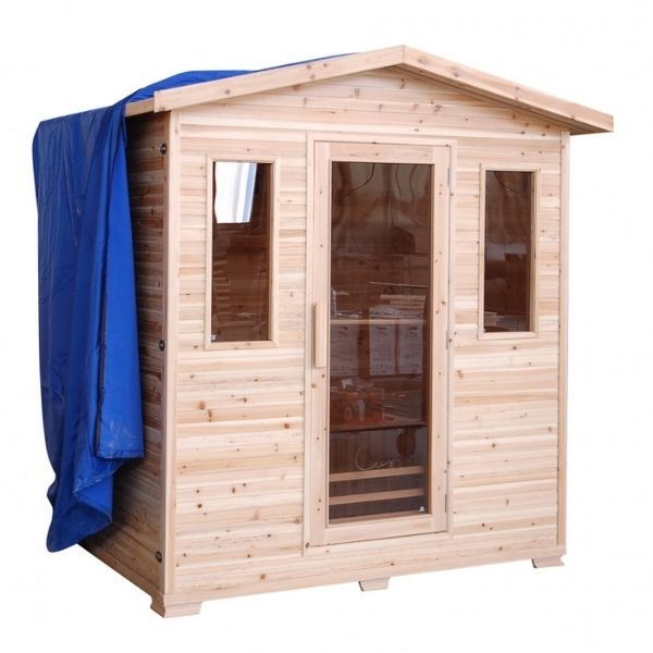 SunRay Cayenne Four Person Outdoor Sauna with Weather Covering