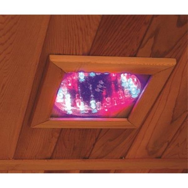 SunRay Evansport HL200C Two Person Infrared Sauna ChromaTherapy lighting helps boost your mood and promote relaxation