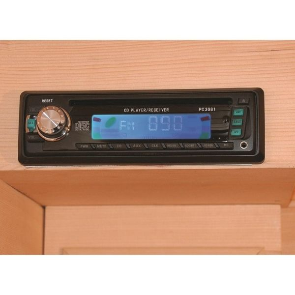 SunRay Heathrow HL200K 2 Person Sauna CD/FM Radio/Aux player allows you to listen to your favorite CD, podcast, meditation app or radio station