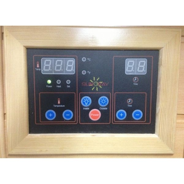 SunRay Heathrow HL200K 2 Person Sauna has interior and exterior LED control panels allowing you to control the temperature and time of each sauna session
