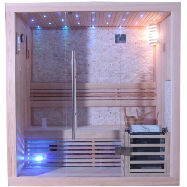 SunRay Westlake 300LX Three Person Traditional Sauna Tempered Glass