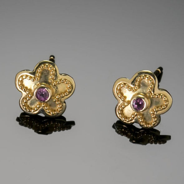 Dainty Pink Sapphire Flower Earrings