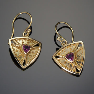Pink Tourmaline Trinity Earrings