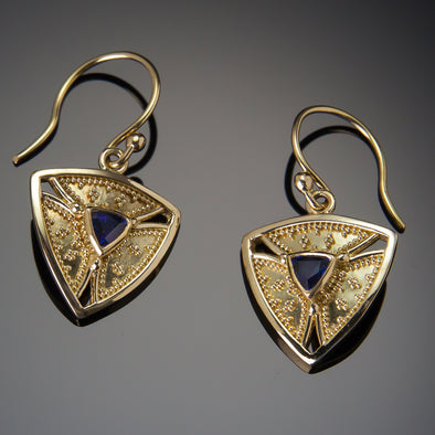Blue Sapphire Trinity Earrings