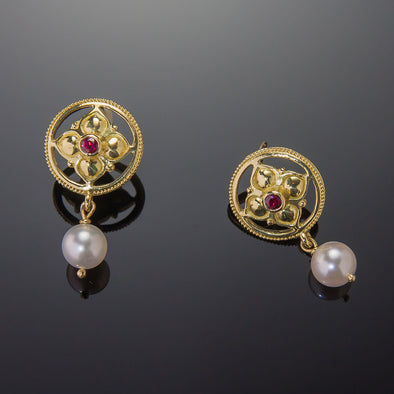Ruby & Pearl Gothic Earrings