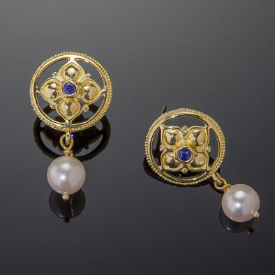 Blue Sapphire & Pearl Gothic Earrings