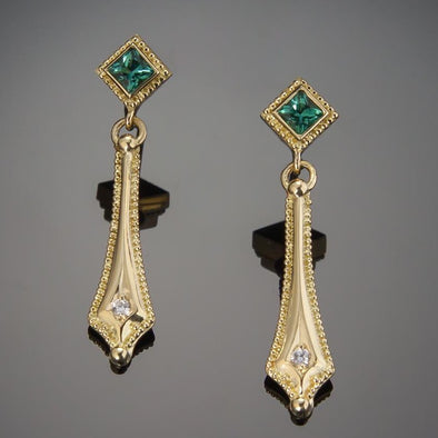 Seafoam Green Tourmaline & Diamond Earrings