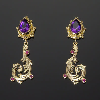 Amethyst & Ruby Vine Earrings