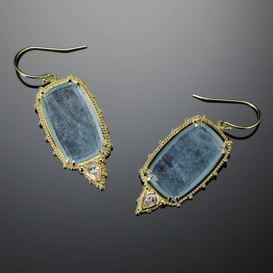 Aquamarine Slice & Diamond Earrings
