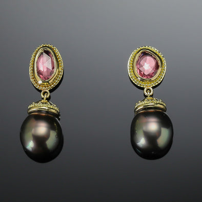 Pink Sapphire & Tahitian Black Pearl Earrings