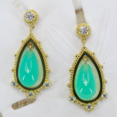 Chrysoprase & Diamond Earrings