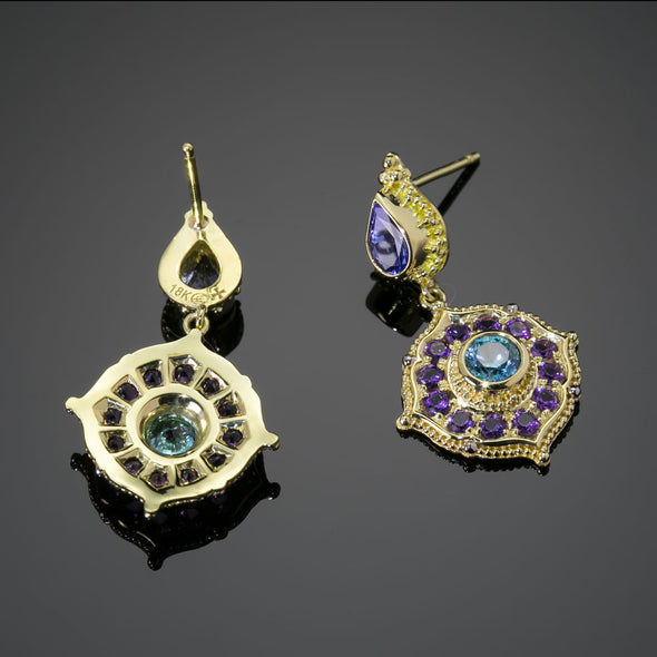 Tanzanite, Blue Zircon, & Amethyst Treasure Earrings