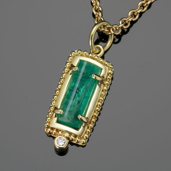 Granulated Emerald Crystal Pendant