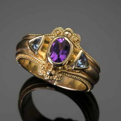 Amethyst & Aquamarine Classical Ring