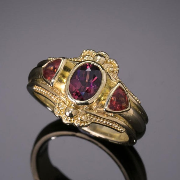 Garnet & Sunstone Classical Ring