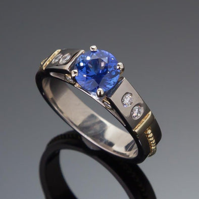 Blue Sapphire & Diamond Classical Ring
