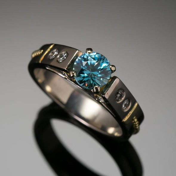 Blue Zircon & Diamond Classical Ring