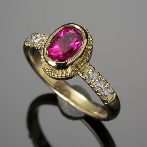 Pink Tourmaline (rubellite) & Diamond Classical Ring