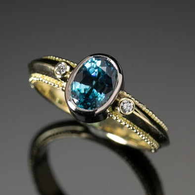 Blue Zircon Classical Ring