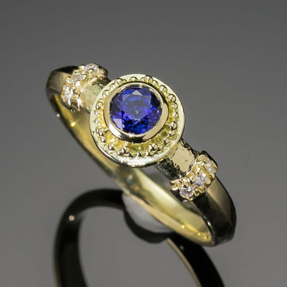 Blue Sapphire & Diamond Greek-inspired Ring