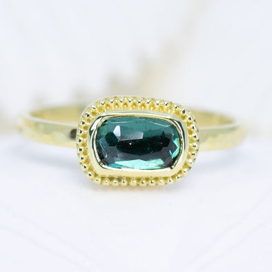 Bluish-Green Tourmaline Treasure Ring