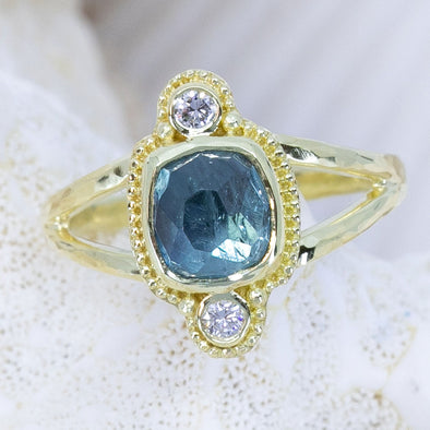Aqua-Blue & Diamond Tourmaline Treasure Ring