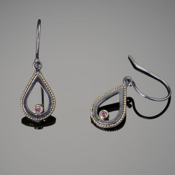 Dangle Tear Drop Garnet Earrings